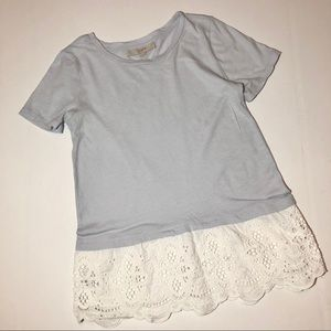 Ann Taylor Loft Baby Blue Eyelet Lace Bottom Top